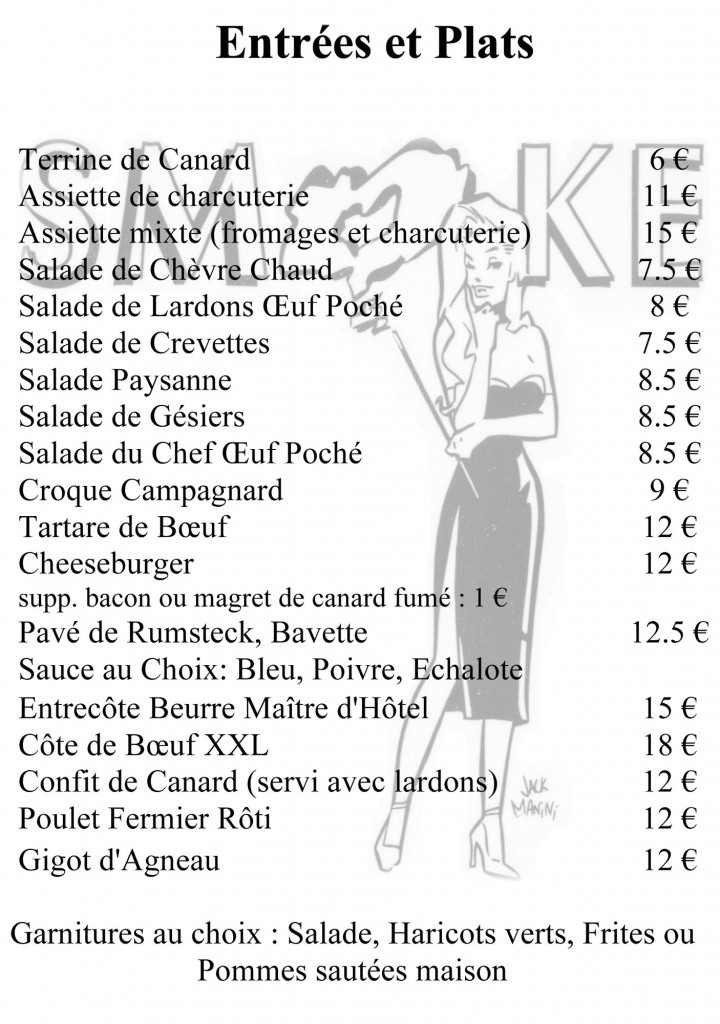 Le Smoke Menu - Entrees & Plats